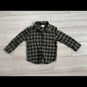 Zara flannel plaid collar shirt, size 5T